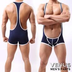 ♥Venus精品♥男士性感 透氣背心平角連體衣 背帶褲 藏青 T065