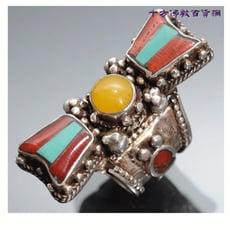 金剛杵鑲寶石925純銀戒指