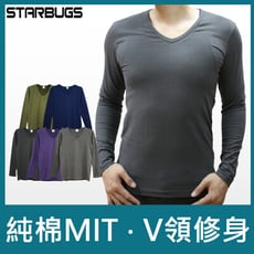 Starbugs男性時尚V領保暖衣(藍/紫/墨綠/淺灰/鐵灰)