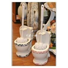 (台中可愛小舖)歐式古典鄉村風馬桶造型馬賽克格紋馬桶刷 居家佈置 衛浴設備