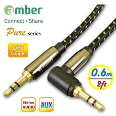 amber 3.5mm AUX音源線mini jack直式&L造型24K鍍金無氧銅OFC【0.6M】