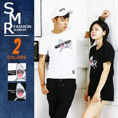 『SMR』短T-膠印鯊魚圖短T-百搭造型款-2色任選《02181076》