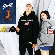 『SMR』美國旗落肩刷毛帽T-保暖休閒款-3色任選《9998M009》