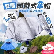 折疊式雙層頭戴式傘帽 雨傘帽 釣魚帽 遮陽傘帽 透氣傘帽 晴雨兩用傘 3色