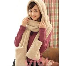 秋冬保暖羊羔絨圍巾帽子手套一體 保暖多功能圍巾