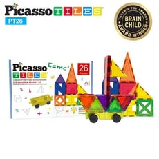 美國畢卡索Picasso Tiles PT26 3D立體益智磁性積木26片