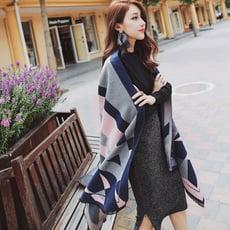 韓版幾何羊絨不規則拼色雙面毛邊加厚保暖長版披肩CNTOP