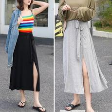 莫代爾開叉半身中裙高腰顯瘦繫帶長裙舒適大碼CNTOP