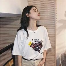 韓版寬鬆卡通豹印花短袖棉T寬鬆大碼大學T上衣CNTOP