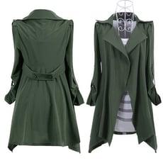 韓版大衣 中長款七分袖薄風衣純色時尚仿麂皮風衣外套CNTOP