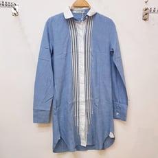 韓版寬鬆條紋牛仔藍拼接條紋長版襯衫 CNTOP