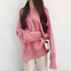 韓版寬鬆毛衣純色中長款針織衫CNTOP