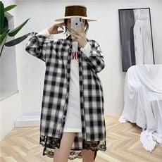 韓版蕾絲拼接格子襯衫長版外套cntop
