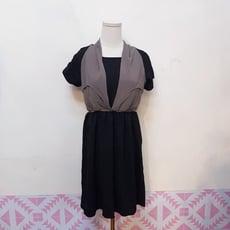 韓版雪紡撞色拼接假兩件式連身裙縮腰氣質洋裝CNTOP