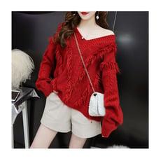 韓版V領針織衫寬鬆流蘇毛衣CNTOP