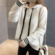 韓版學院風假二件式連帽針織衫毛衣