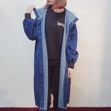 韓版簡約連帽寬鬆長袖休閒長版牛仔外套