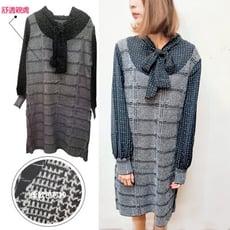 韓版雪紡格紋拼接包芯紗針織連身裙CNTOP