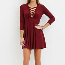 針織連衣裙圓領九分袖繫帶純色彈力顯瘦洋裝 CNTOP