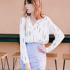韓版時尚氣質條紋印花雪紡襯衫OL氣質上衣CNTOP