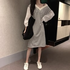 韓版蕾絲泡泡袖拼接條紋長版洋裝連身裙CNTOP