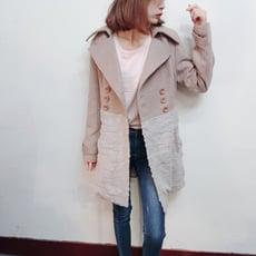 韓版專櫃質感亮片毛絨拼接混羊毛呢大衣西裝外套CNTOP