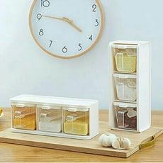 廚房收納必備! 密封調味罐3件套組、橫放、直立均可