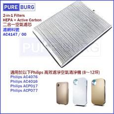 【適用Philip飛利浦】高效濾淨AC4016 AC4076 空氣清淨機HEPA替換濾網濾心含活性碳