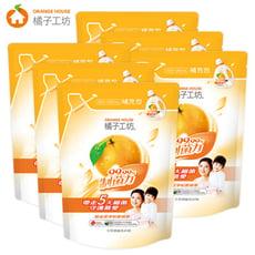 橘子工坊天然制菌洗衣精加量補充包6包組(1500ml+200ml/包)