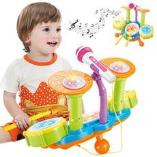 兒童音樂鼓 電動燈光玩具爵士鼓 寶寶早教益智架子鼓-CY6002