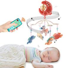 嬰兒床音樂鈴 頑兔寶寶發光小雞月亮遙控音樂旋轉床鈴-BEL8058A