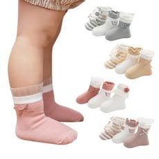 [6雙入]兒童寶寶襪 刺繡木耳邊蝴蝶結花邊公主襪-HC2105