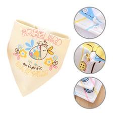 【6條入】純棉三角巾 雙層按扣口水巾卡通圍嘴嬰兒頭巾-PF2882