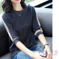 【Lockers 木櫃】寬鬆拚色半袖針織亮絲潮流T恤-2色