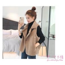【Lockers 木櫃】韓版寬鬆外搭毛絨馬甲背心-2色