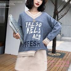 【Lockers 木櫃】韓版新穎V領拚色不規則下擺寬鬆毛衣-3色