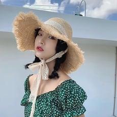 👒拉菲草蕾絲綁帶大帽簷草帽
