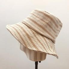 春夏 日本 拼接條紋漁夫帽 棉麻透氣盆帽 折疊復古防曬帽子