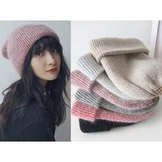 日系安哥拉兔毛帽卷邊針織帽套頭毛線帽加厚帽