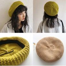 🍂早秋日系畫家帽鏤空透氣英倫風復古貝蕾帽南瓜帽