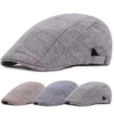 經典細格紋鴨舌帽英倫復古格子前進帽日系春夏薄款小偷帽子