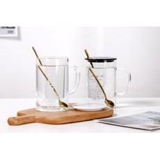 悠雅時光帶蓋玻璃杯 茶杯 咖啡杯 牛奶杯 馬克杯-470ml (款式隨機 )