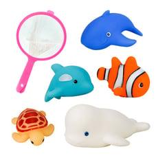 5入海洋動物洗澡玩具啾啾(大白鯨版)(附撈網)(安全漆ST401)【888便利購】