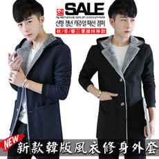 【強烈韓流】韓版男裝內絨毛素面連帽風衣外套
