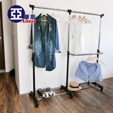 【Amos】台灣製高機能三腳加寬型伸縮衣架/曬衣架