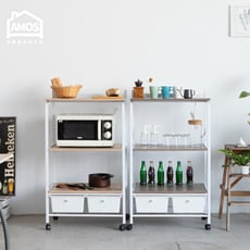 【Amos】台灣製居家升級版廚房三層二抽附插座多功能電器架