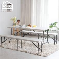 【Amos】180*76手提折疊式戶外露營餐桌/會議桌