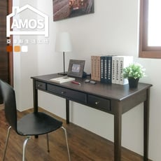 【Amos】台灣製古典三抽120CM書桌/工作桌