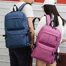 多功能 純色簡約 充電USB 雙肩包 電腦背包 旅行 休閒 韓版 男女學生書包 防水 防割