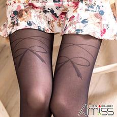 AMISS 透膚感假大腿造型褲襪-大腿蝴蝶結褲襪